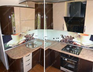 Фото угловой кухню «Аромат кофе» по выгодной цене